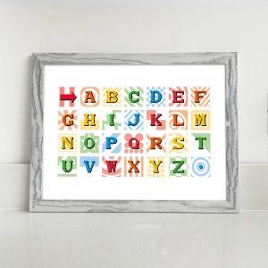 The Bobbing Dot : Rainbow Alphabet Print Landscape A4 A3