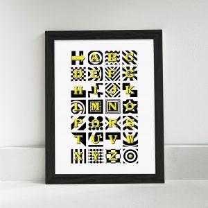 The Bobbing Dot : Yellow and Black Alphabet Print Portrait A4 A3